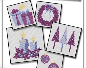 """Purple Christmas card cross stitch kit five 4"""" designs with cards and envelopes. With DMC thread."""