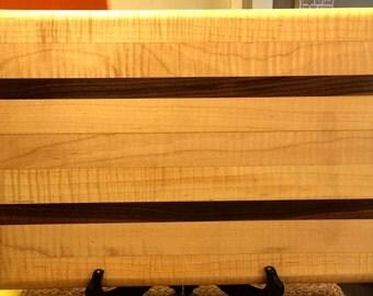 Large Curly Maple and Walnut stripe citting board.  Heavy duty.