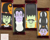 Halloween Hershey Bar Wrapper // Chocolate Bar Template // Frankenstein, Bride of Frankenstein, Dracula, Witch // Party Favor // Digital Art