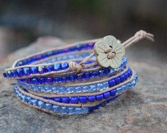 Five Wrap Beaded Bracelet with Natural Wooden Flower Button