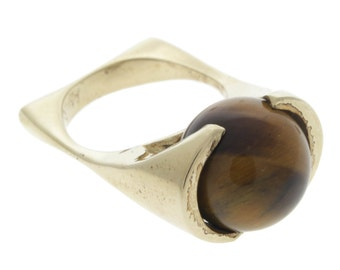 1970's Vintage Modernist 14K Ring with Rolling Tigers Eye Bead