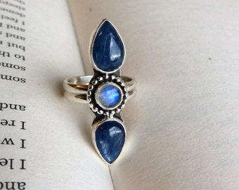 Moon On The Water - Double Kyanite and Moonstone Sterling Silver Ring