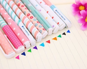Set of 10 Colorful Pens / Cute Gel Pens / Kawaii Gel Pens / Gel Ink Pens / Stationary / School Supplies / Cute Gel Ink Pens / Fine Point