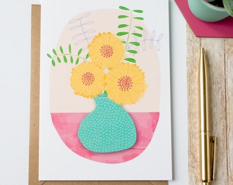 Yellow Flower Vase Greetings Card