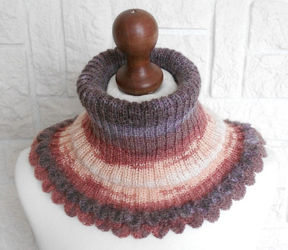 Infinity Scarf Knitting Pattern Mohair : Mohair Knit Cowl Infinity Scarf Wool Cowl Scarf Knitted
