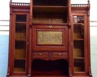 Antique Aesthetic Movement Mahogany Victorian Bookcase Secretary
