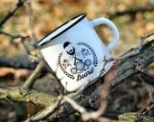 Enamel Mug * Real Man Beard Print * Tourist Enamel Mug * Tourist Enamelware * Camping Cup Mug Beardman