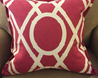 """Lattice Bamboo Raspberry Geometric Decorative Pillow Cover Throw Pillow with Flange 18"""""""