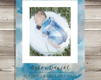 Baby Boy or Girl Birth Announcement, Watercolor, Navy Blue Hues and Taupe, Mint and Lavender Purple, Baby Shower, Artistic, Painting