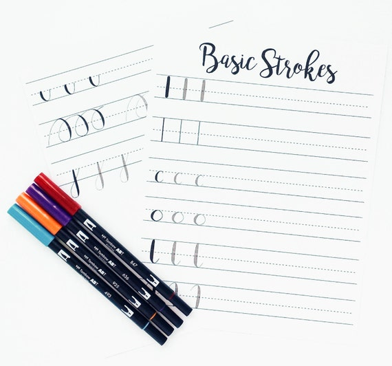 Brush lettering practice worksheets basic strokes basic Calligraphy basics