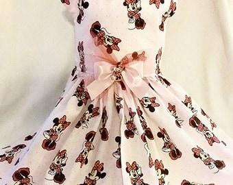 Custom made adorable Minnie Mouse dog dress with Minnie bow