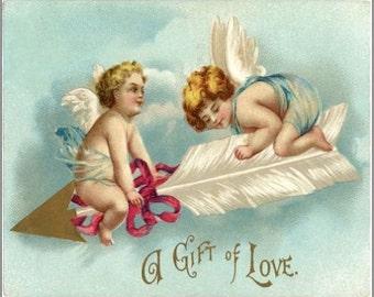 "2"" x 3"" Magnet A Gift of Love Vintage Valentine"