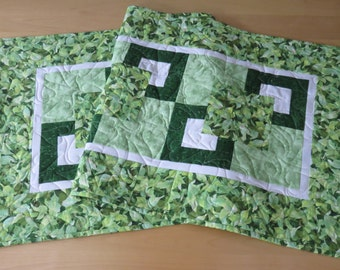 Quilted Table Runner, Green Leaves Table Runner, Reversible Nature Themed Table Runner, Modern Quilted Table Topper, Housewarming Gift