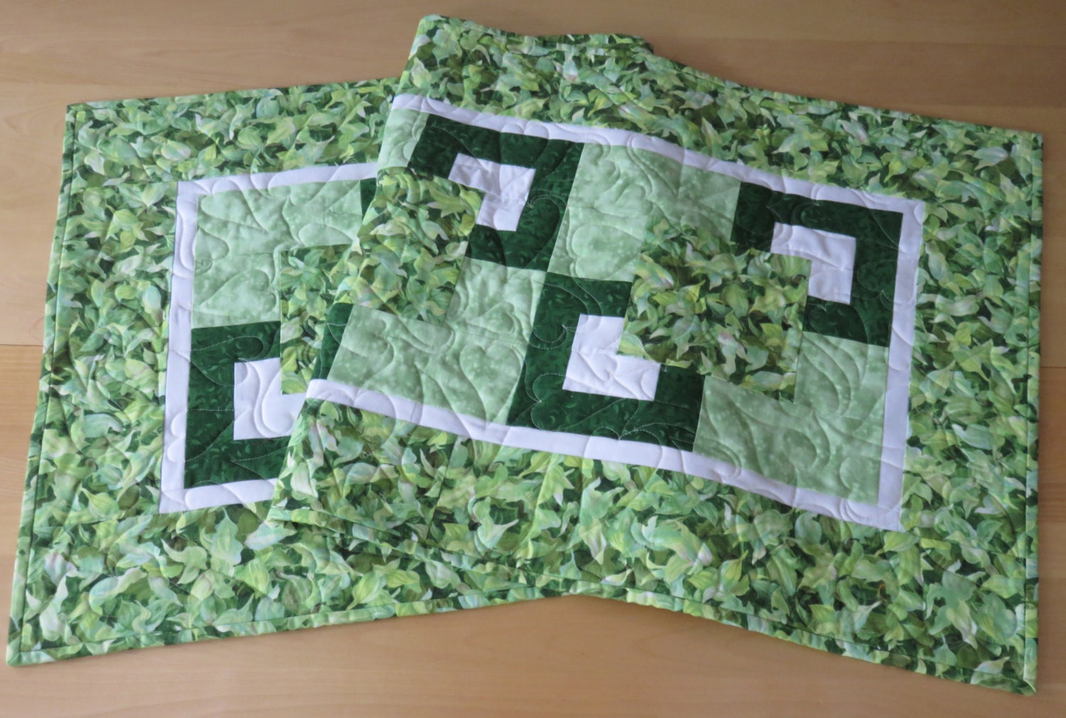Quilted table runner green leaves table runner reversible for 102 table runners