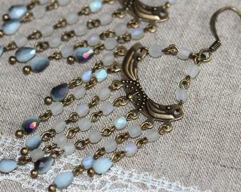 Antique Bronze Chandelier Earrings, Handmade Vintage Style Chandelier Earrings