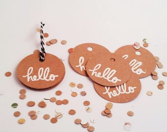 greeting tags 10 pack. hello design. handmade comes with 1 meter of twine