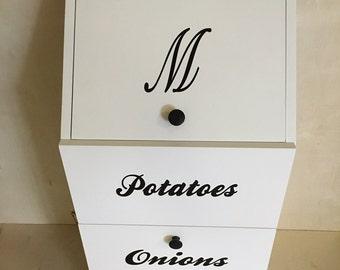 Personalized Potato and Onion Bin,  Potato Storage Bin, Vegtable Bin, Kitchen Stoarge Bin