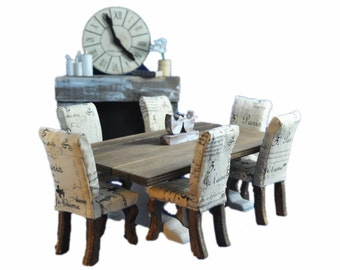 MiniMolly Dollhouse Furniture, Dining Table, 6 chairs , Paris Upholstered
