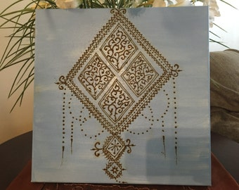 Sky Blue Henna design Canvas/ Morocco Wall Art/ Morocco Wall Decor/ Morocco Wall Hanging/ Gallery Wall/ Henna Canvas/ Henna Wall Art/
