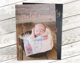 Birth Announcement Modern 5x7 Printable - Collage - Double Sided - Two Sides
