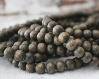 8mm Round Graywood Beads Grey Beads Natural Rustic Jewelry Supply Eco friendly