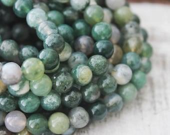 Moss Agate 6mm Round Natural Gemstone Yoga Jewelry Supply Green Beads Mala Beads