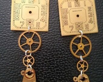 Steampunk earrings vintage watch parts