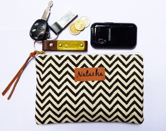 Chevron  Pouch canvas,Gifts for teens,women,Coin Purse,clutch,pencil bag,pencil case,zipper pouch,Makeup Bags,Cosmetic Bags,Back to School