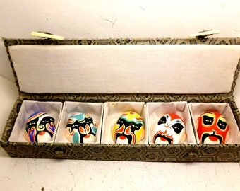 Chinese miniature masks, Hand painted clay masks, a set of Chinese masks