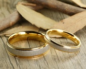 Custom Gifts His and Her Promise Rings - Yellow Gold Wedding Titanium Rings Set