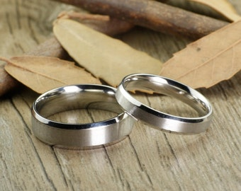 Christmas Gifts -  His and Her Promise Rings - Handmade Wedding Titanium Rings Set