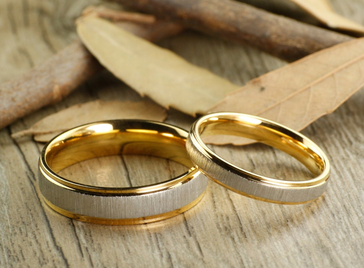 Custom Gifts His and Her Promise Rings Yellow Gold Wedding