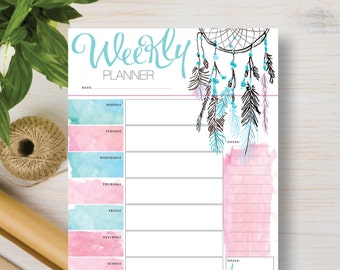 Weekly Printable Dream Catcher Insert.  Attrape-Rêve, Boho, Feathers organizer includes: A5, A4, Half Letter & Letter (8.5 x 11) | #597
