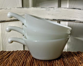 Anchor Hocking Milk Glass Ovenproof Soup Bowls With Handles Set Of 3 Made In The USA