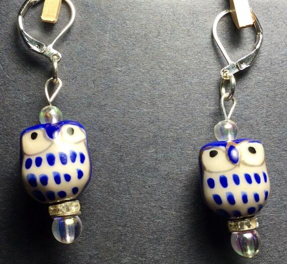 ceramic blue owl earrings by wendysspace on etsy