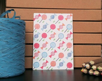 Card Candy Pattern - A6 Postcard - Blank Card - Just Because Card - Card Recycled Paper.