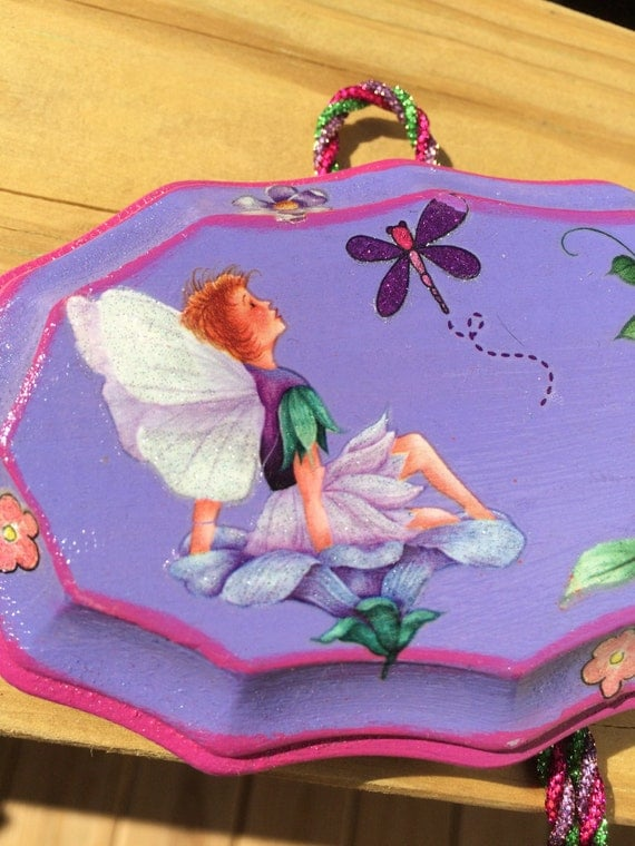 Purple Fairies Wooden Plaque
