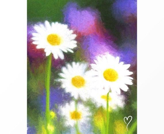 "Original Wall Art, Wall Art Print of Daisies, Home Decor, Flower Wall Art, Colorful Wall Decor ""Le Printemps"""