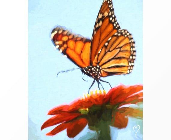 "Butterfly Wall Art, Original Fine Art Print, Light Blue Home Decor, Butterfly Art, Gift for Mom, Light Blue Wall Decor ""Time to Fly"""