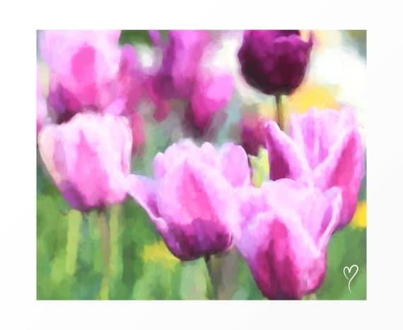 "Floral Wall Art, Wall Art of Light Purple Tulips, Floral Decor, Flower Wall Art, Purple Wall Decor ""Spring Tulips"""