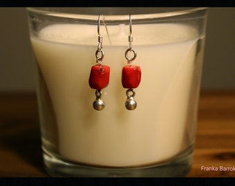 Small red coral drop earrings
