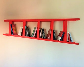 Bookcase with wood ladder