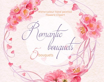 Hand Painted Graphics - Watercolour Clip Art - Romantic Bouquets - Valentines day - Wedding invitation - PNG