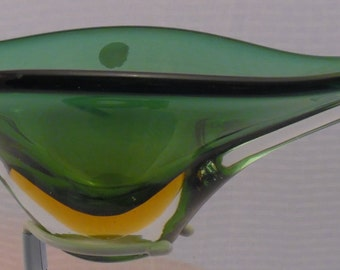 Vintage Italian Murano Glass, Long Green and Orange