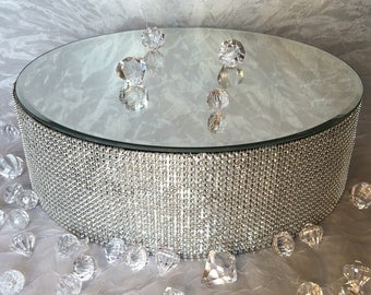 "14"" Mirrored Round Silver or Gold Bling Rhinestone Cake Stand, Riser, Platform For Wedding, Anniversary"