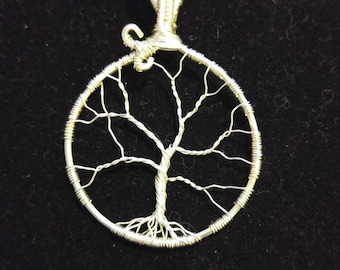 Wire Wrapped Tree of Life Pendant, Sterling Silver