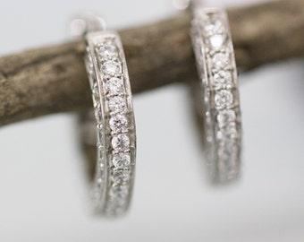 Tiny Sterling Silver Cubic Zirconia Huggie Earrings, Medium Sized Hoops, CZ Hoops