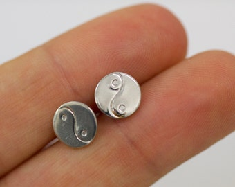 Small Sterling Silver Ying & Yang Earrings, Small Studs