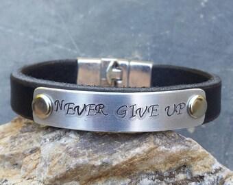 FREE SHIPPING- Men's Personalized Leather Bracelet, Unisex Custom Cuff, Black Leather Bracelet, Anniversary Gift, Never Give Up Bracelet