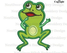 Frog embroidery design, cute animal sea life embroidery applique file download, frog-004